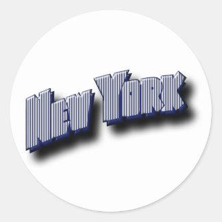 Adesivo Redondo Texto da bandeira de New York