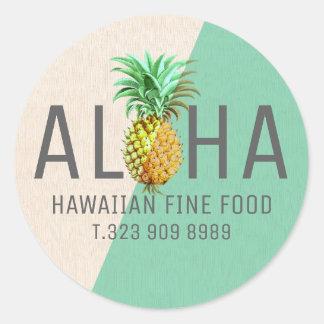 Adesivo Redondo Texto de linho verde & bege Aloha com abacaxi