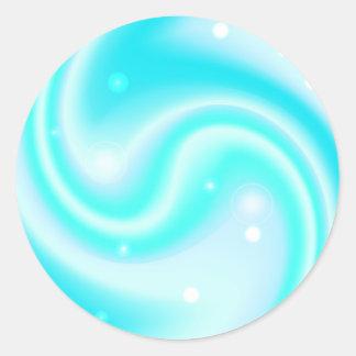 Adesivo Redondo Textura azul do líquido do redemoinho