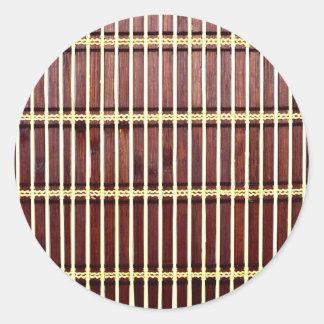Adesivo Redondo textura de bambu da esteira