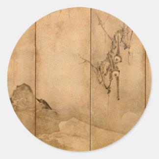 Adesivo Redondo Tinta japonesa nos primatas de papel & na paisagem