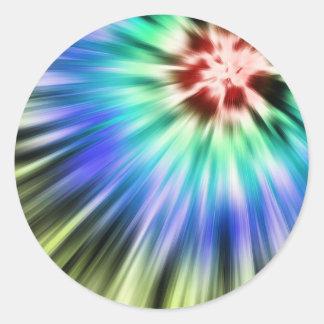 Adesivo Redondo Tintura colorida do laço de Starburst
