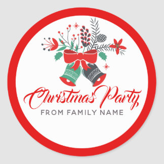 Adesivo Redondo Tipografia da festa de Natal & buquê de Bels