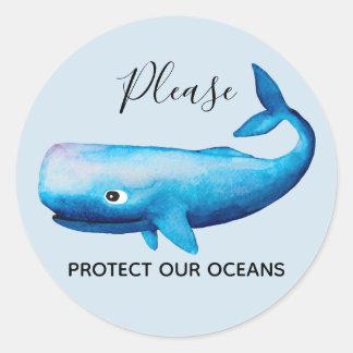 Adesivo Redondo Tipografia do mar da baleia da aguarela da