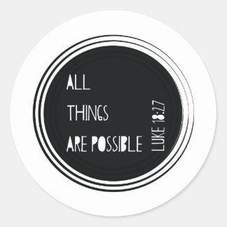 """Adesivo Redondo """"Todas as coisas são"""" verso possível da bíblia"""