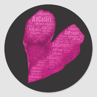 Adesivo Redondo Todas as pessoas do coração cor-de-rosa em