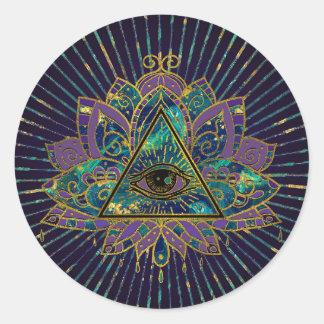 Adesivo Redondo Todo o olho místico de vista na flor de Lotus