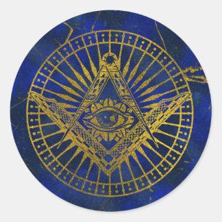 Adesivo Redondo Todo o olho místico de vista no compasso maçónico