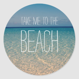 Adesivo Redondo Tome-me à areia do céu azul do verão do oceano da