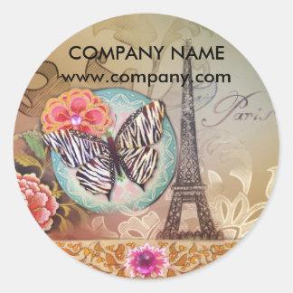 Adesivo Redondo torre Eiffel chique de Paris do maquilhador do
