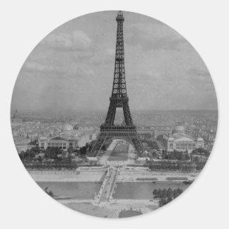 Adesivo Redondo Torre Eiffel de France, Paris, foto retro