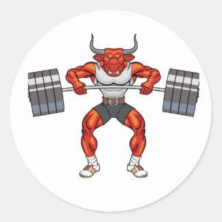 Adesivo Redondo touro 2 do levantamento de peso