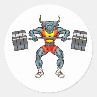 Adesivo Redondo touro 3 do levantamento de peso