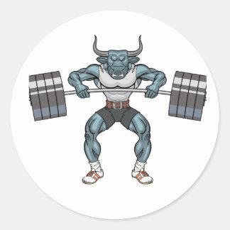 Adesivo Redondo touro do levantamento de peso