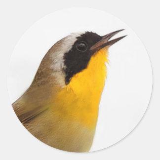 Adesivo Redondo Toutinegra bonita do Yellowthroat comum