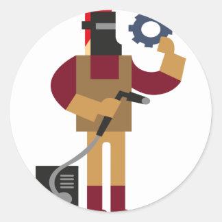 Adesivo Redondo Trabalhador do metal