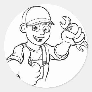 Adesivo Redondo Trabalhador manual do mecânico ou do canalizador