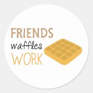 Adesivo Redondo Trabalho dos Waffles dos amigos