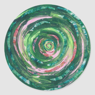 Adesivo Redondo trabalhos de arte Verde-Cor-de-rosa #2 de