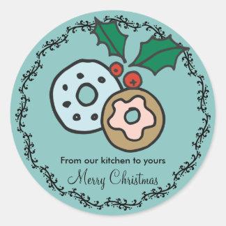 Adesivo Redondo Tradições de presentes caseiros da comida do Natal