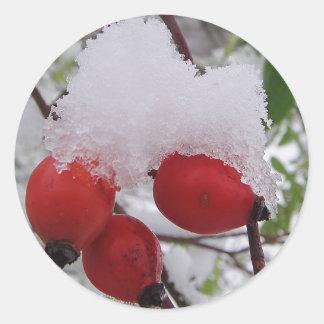Adesivo Redondo Três pilritos com neves