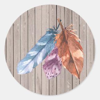 Adesivo Redondo Trio das penas Brown roxo azul