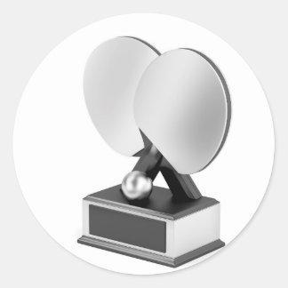 Adesivo Redondo Troféu de prata do ténis de mesa
