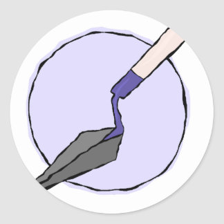 Adesivo Redondo Trowel roxo - o jogo de ferramentas do arqueólogo