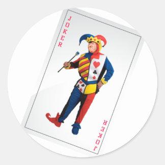 Adesivo Redondo Trunfo o cartão do palhaço do palhaço