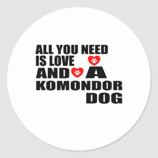 Adesivo Redondo Tudo você precisa o design dos cães do amor