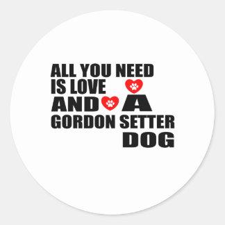 Adesivo Redondo Tudo você precisa o design dos cães do SETTER de