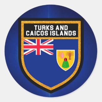 Adesivo Redondo Turcos e bandeira de Caicos