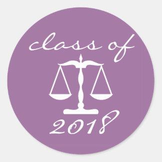 Adesivo Redondo Turma escolar da lei de 2018 (escalas roxas de