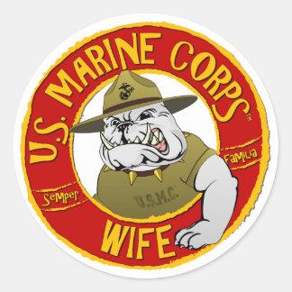 Adesivo Redondo U.S. Esposa do Corpo do Marines