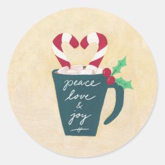 Adesivo Redondo Um copo da paz, do amor e da alegria