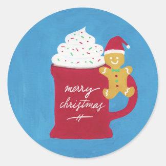 Adesivo Redondo Um copo do Feliz Natal