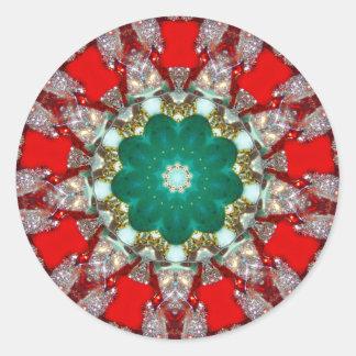 Adesivo Redondo Um Fractal Sparkling do Natal
