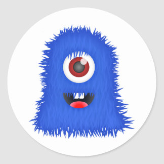 Adesivo Redondo Um monstro azul eyed