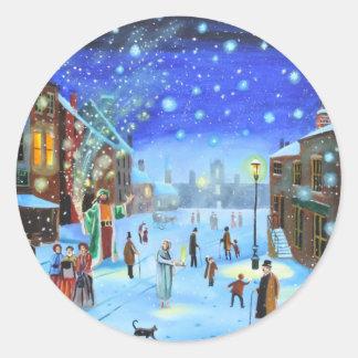 Adesivo Redondo Uma cena da rua do inverno de Scrooge da canção de