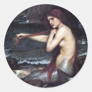 Adesivo Redondo Uma sereia por J W WaTERHOuSE, 1901