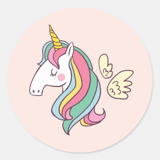 Armario Locker Madeira ~ Adesivo Redondo Unicórnio bonito do arcoíris do v u00f4o do Doodle do Zazzle co