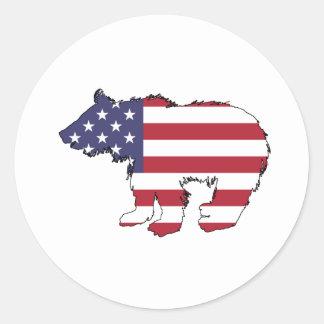 """Adesivo Redondo Urso """"bandeira americana """""""