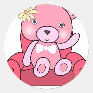 Adesivo Redondo Urso cor-de-rosa na arte do sofá