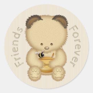 Adesivo Redondo Urso de mel bonito dos melhores amigos
