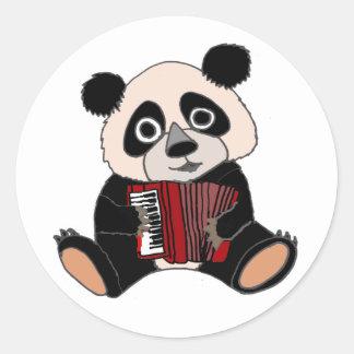 Adesivo Redondo Urso de panda engraçado que joga o acordeão