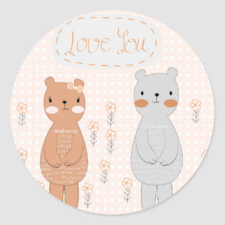 Adesivo Redondo Urso de ursinho bonito do casal dos namorados dos