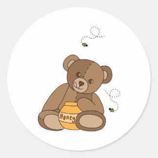Adesivo Redondo Urso e mel de ursinho