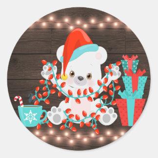 Adesivo Redondo Urso polar pequeno bonito com luzes de Natal