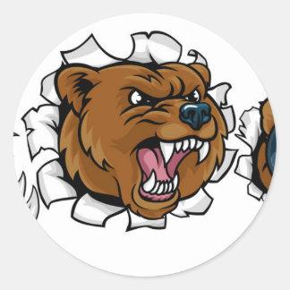 Adesivo Redondo Urso que guardara a bola de boliche que quebra o