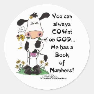 Adesivo Redondo Vaca e joaninha COWnt no deus